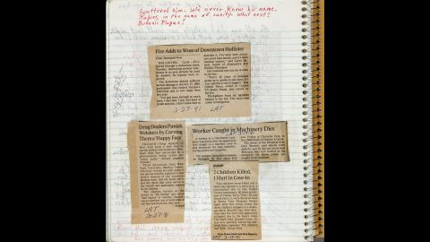 Newspaper clippings were pasted into one of Butler's commonplace books, circa 1990, alongside handwritten notes and a math equation.