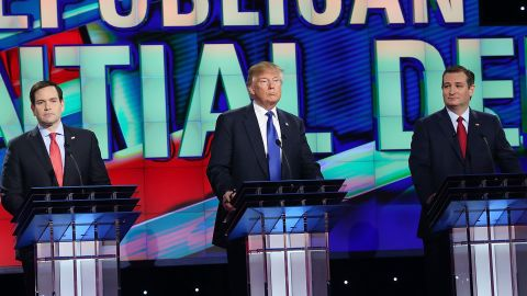 HOUSTON, TX - FEBRUARY 25:  Republican presidential candidates  Florida Sen. Marco Rubio (R-FL), Donald Trump, and Texas Sen. Ted Cruz (R-TX) stand on stage for the Republican National Committee Presidential Primary Debate at the University of Houston's Moores School of Music Opera House on February 25, 2016 in Houston, Texas. The candidates are meeting for the last  Republican debate before the Super Tuesday primaries on March 1.  (Photo by Joe Raedle/Getty Images)