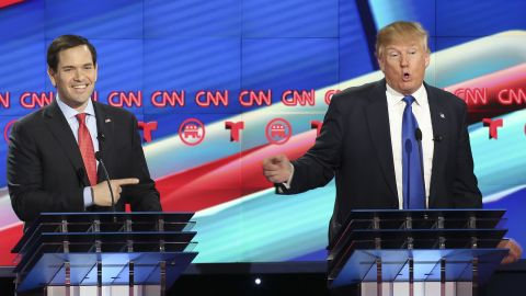 Republican presidential candidate, Sen. Marco Rubio (R-FL) reacts to a point by Donald Trump during the Republican presidential debate at the Moores School of Music at the University of Houston on February 25, 2016 in Houston, Texas.