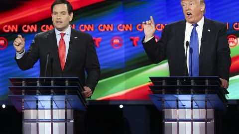 HOUSTON, TX - FEBRUARY 25:  Donald Trump (R) and Sen. Marco Rubio (R-FL) talk over each other at the Republican presidential debate at the Moores School of Music at the University of Houston on February 25, 2016 in Houston, Texas. The debate is the last before the March 1 Super Tuesday primaries.  (Photo by Michael Ciaglo-Pool/Getty Images )