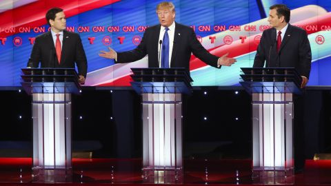 HOUSTON, TX - FEBRUARY 25:  Republican presidential candidates Sen. Marco Rubio (R-FL) (L) and Ted Cruz (R-TX)(R) listen as Donald Trump answers a question during the Republican presidential debate at the Moores School of Music at the University of Houston on February 25, 2016 in Houston, Texas. The debate is the last before the March 1 Super Tuesday primaries.  (Photo by Michael Ciaglo-Pool/Getty Images )
