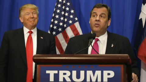 Republican presidential candidate Donald Trump smiles as he stands with New Jersey Gov. Chris Christie before a rally in Fort Worth, Texas, Friday, Feb. 26, 2016. (AP Photo/LM Otero)