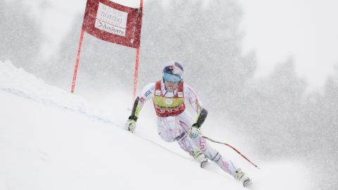 The event was delayed amid strong snow and winds Saturday.