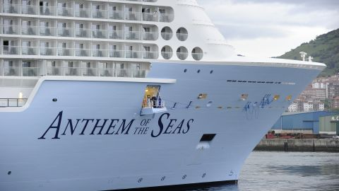 The Royal Caribbean's latest cruise liner 'Anthem Of The Seas', the third largest ship in the world, arrives at the port of Bilbao during its maiden voyage, on April 26, 2015. The 'Anthem Of The Seas', a 4,905-passenger ship, is billed as the most technologically advanced cruise vessel ever. It boasts fast internet speeds, an all-digital check-in process, a skydiving simulator at sea and the first bumper cars at sea.   AFP PHOTO/ ANDER GILLENEA        (Photo credit should read ANDER GILLENEA/AFP/Getty Images)