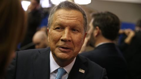 Republican presidential candidate Ohio Gov. John Kasich speaks to the media in the spin room at the Republican National Committee Presidential Primary Debate at the University of Houston's Moores School of Music Opera House on February 25, 2016 in Houston, Texas.