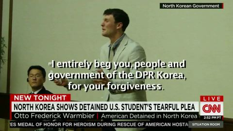 """Warmbier tearfully confesses to """"hostile acts"""" last month."""