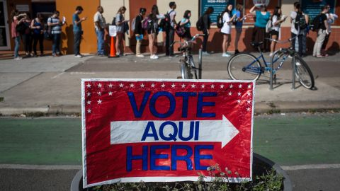 Voters wait in line to cast their Super Tuesday ballots at a polling station located at the University Co-op in Austin, Texas on Tuesday, March 1, 2016. Voters from Vermont to Colorado, Alaska to American Samoa and a host of states in between were heading to polling places and caucus sites on the busiest day of the 2016 primaries.  (AP Photo/Tamir Kalifa)