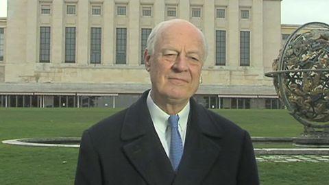 """U.N. envoy Staffan de Mistura says the truce """"hangs by a thread."""""""