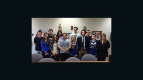Perry High School students meet with Dallas Center-Grimes High School students in Perry Iowa.