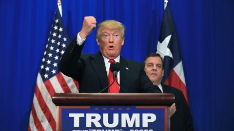 FORT WORTH, TX - FEBRUARY 26:  Republican presidential candidate Donald Trump announces that New Jersey Governor Chris Christie officially supports the Trump campaign during a rally at the Fort Worth Convention Center on February 26, 2016 in Fort Worth, Texas. Trump is campaigning in Texas, days ahead of the Super Tuesday primary.  (Photo by Tom Pennington/Getty Images)