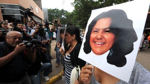Activists protest the killing of Honduran environmental activist Berta Cáceres.