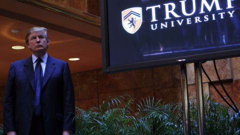 NEW YORK - MAY 23:  Real estate mogul Donald Trump holds a media conference announcing the establishment of Trump University May 23, 2005 in New York City. Trump University will consist of on-line courses, CD-Roms and other learning programs for business professionals.  (Photo by Thos Robinson/Getty Images)