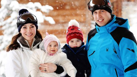 William and Catherine pose with their children during a trip to the French Alps in March 2016.