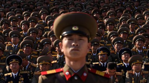 A North Korean soldiers stands before spectators during a mass military parade at Kim Il-Sung square in Pyongyang on October 10, 2015. North Korea was marking the 70th anniversary of its ruling Workers' Party. AFP PHOTO / Ed Jones        (Photo credit should read ED JONES/AFP/Getty Images)