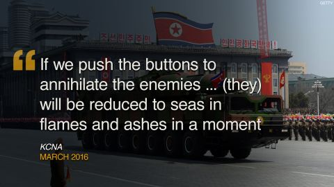 """North Korea has a history of using creative language to express loathing for its enemies. Here are some of the regime's more colorful threats against the West.<br /><br /><strong>March 2016:</strong> North Korea warned it would make a """"preemptive and offensive nuclear strike"""" in response to <a href=""""http://cnn.com/2016/03/06/asia/north-korea-preemptive-nuclear-strike-threat/index.html"""">joint U.S.-South Korean military exercises</a>. Pyongyang issued a long statement promising that """"time will prove how the crime-woven history of the U.S. imperialists who have grown corpulent through aggression and war will come to an end and how the Park Geun Hye group's disgraceful remaining days will meet a miserable doom as it is keen on the confrontation with the fellow countrymen in the north."""""""