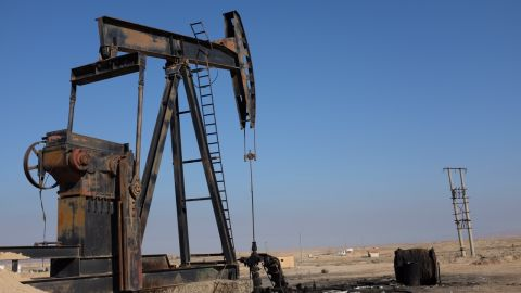 An oil pump abandoned by ISIS near Al Hawl, Syria, with resultant  environmental damage. This and other images were taken in northern Syria in early February.