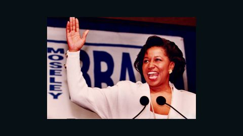 Carol Moseley Braun, a Democrat from Illinois, was the first African-American woman to be elected to the U.S. Senate. She served from 1993 to 1999.