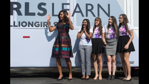 As part of first lady Michelle Obama's Let Girls Learn initiative, she poses with young female students in front of the White House on March 8, before an event to mark International Women's Day.