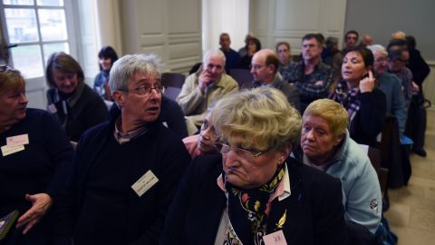 """Victims await the start of the trial of  Jacobus Marinus Van Nierop, dubbed """"the dentist of the horror,"""" at the Nevers courthouse, central France."""