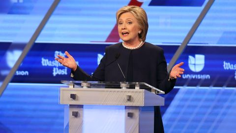 Hillary Clinton speaks during the Univision News and Washington Post Democratic Presidential Primary Debate at the Miami Dade College's Kendall Campus on March 9, 2016, in Miami.