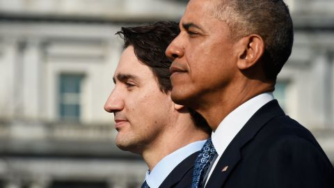 The two leaders listen to the Canadian national anthem during a ceremony on the South Lawn of the White House on March 10. Obama and Trudeau are clearly friendly in each other's company, making small talk amid the grandeur of the official state welcome.