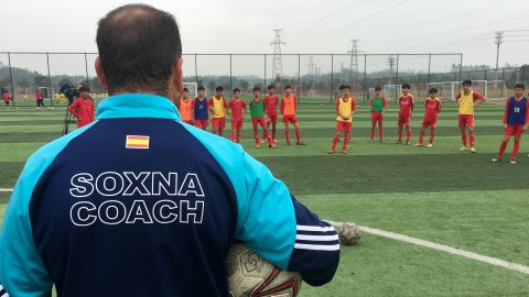 """Sergio Zarco Diaz, who has been coaching in China for four years, runs his sessions at the school alongside a translator. """"What we notice is the children are at a high technical level, but the greatest difference is tactically,"""" the Spaniard explains."""