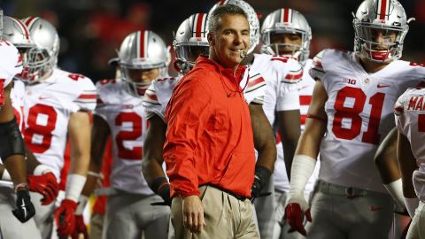 PISCATAWAY, NJ - OCTOBER 24: Head coach Urban Meyer of the Ohio State Buckeyes during warmups before a game against the Rutgers Scarlet Knights at High Point Solutions Stadium on October 24, 2015 in Piscataway, New Jersey. (Photo by Rich Schultz /Getty Images)