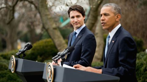 """Trudeau listens as Obama speaks during a bilateral news conference in the Rose Garden of the White House on March 10. """"No two nations agree on everything,"""" Obama said. """"Our countries are no different, but in terms of our interests and values and how we approach the world, few countries match up the way the United States and Canada do."""""""