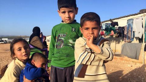 Displaced Syrian children living in a camp near the Turkish border.