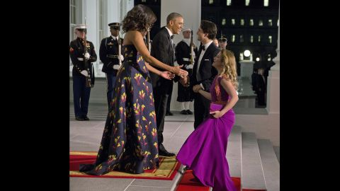 President Obama and first lady Michelle Obama greet Prime Minister Trudeau and his wife, Sophie Gregoire Trudeau, at the North Portico of the White House for the state dinner on March 10.