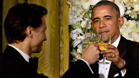 President Barack Obama toasts Canadian Prime Minister Justin Trudeau during a state dinner at the White House on Thursday, March 10.