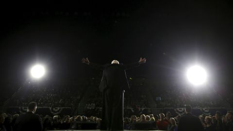 """Sanders speaks at a campaign rally in Ann Arbor, Michigan, in March 2016. He <a href=""""http://www.cnn.com/2016/03/08/politics/primary-results-highlights/"""" target=""""_blank"""">won the state's primary</a> the next day, an upset that delivered a sharp blow to Clinton's hopes of quickly securing the nomination."""