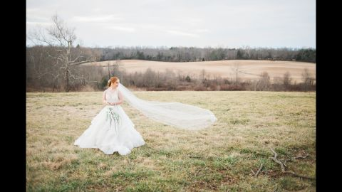 Madeline Stuart poses at Rixey Manor, a wedding venue in Virginia. Stuart has Down syndrome.