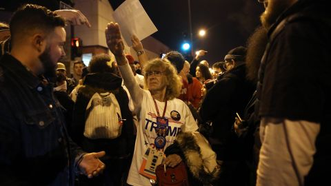 Donald Trump supporter Birgitt Peterson of Yorkville, Ill., argues with protesters outside the UIC Pavilion after the cancelled rally for the Republican presidential candidate in Chicago on Friday, March 11, 2016. (Photo by E. Jason Wambsgans/Chicago Tribune/TNS) *** Please Use Credit from Credit Field ***
