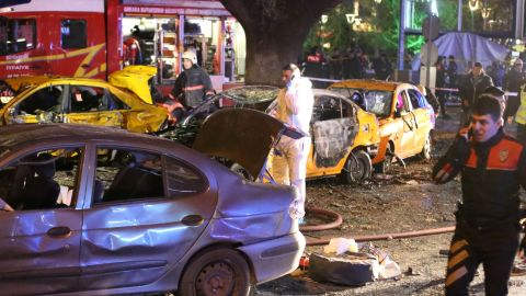 Police work at the site of an explosion in Ankara, Turkey, on Sunday, March 13. The blast killed at least 27 people and wounded at least 75 others, the governor of Ankara said in a written statement.