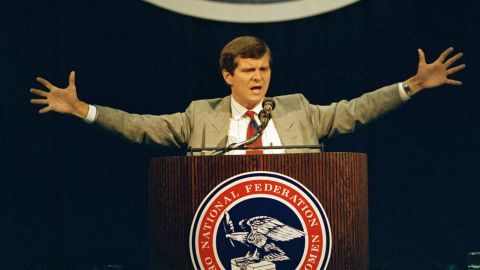The late Lee Atwater, Republican National Committee Chairman, during a speech to the National Federation of Republican Women's convention in Baltimore, Maryland in 1989.