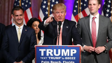 Republican presidential candidate Donald Trump speaks during a primary night press conference at the Mar-A-Lago Club's Donald J. Trump Ballroom March 15, 2016 in Palm Beach, Florida.
