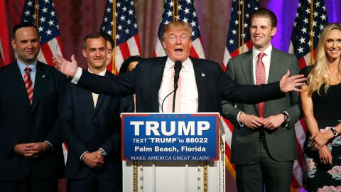 Republican presidential candidate Donald Trump addresses the media following victory in the Florida state primary on March 15, 2016 in West Palm Beach, Florida.  The win in Florida for Trump sent rival Marco Rubio, the US senator from the Sunshine State, crashing out of the campaign. The 69-year-old billionaire also won in Illinois and North Carolina. / AFP / RHONA WISE        (Photo credit should read RHONA WISE/AFP/Getty Images)