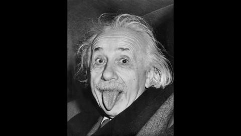 Celebrated picture dated 14 march 1951, shows German-born Swiss-US physicist Albert Einstein (1879-1955), awarded the Nobel Prize for Physics in 1921, sticking out his tongue at photographers on his 72nd birthday. AFP ARTHUR SASSE        (Photo credit should read ARTHUR SASSE/AFP/Getty Images)