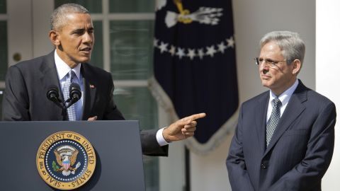 Federal appeals court judge Merrick Garland, stands with President Barack Obama as he is introduced as Obama's nominee for the Supreme Court during an announcement in the Rose Garden of the White House, in Washington, Wednesday, March 16.