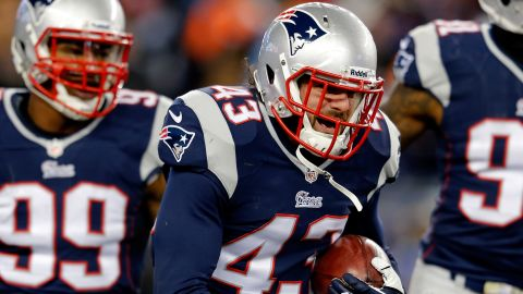 FOXBORO, MA - NOVEMBER 24:  Defensive back Nate Ebner #43 of the New England Patriots recovers a loose punt in the fourth quarter against the Denver Broncos during a game at Gillette Stadium on November 24, 2013 in Foxboro, Massachusetts.  (Photo by Jim Rogash/Getty Images)