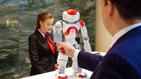 Mario helps welcome guests to the Ghent Marriott in Belgium. He speaks multiple languages and -- unlike humans -- can make PowerPoint presentations interesting.