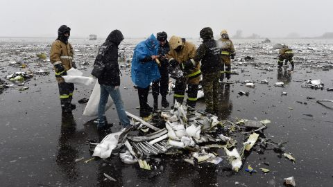 """Russian investigators work at the wreckage of the <a href=""""http://edition.cnn.com/2016/03/18/europe/russia-plane-crash/"""" target=""""_blank"""">flydubai passenger jet that crashed on March 19,</a> killing all 62 people on board as it tried to land in bad weather in Rostov-on-Don."""