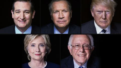 Ted Cruz,  Donald Trump, John Kasich, Hillary Clinton and Bernie Sanders,