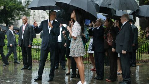 Obama and members of the first family take a walking tour of a Havana cathedral on Sunday, March 20.