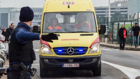 Ambulances arrive at the airport.