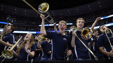 The Gonzaga University band shouts during the second half of an NCAA Tournament game in Denver on Saturday, March 19. Gonzaga is one of the 16 teams remaining in the men's basketball tournament, which resumes Thursday, March 24.