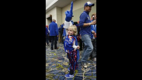 Henry Knapheide, 4, displays his Kansas Jayhawks spirit before the team played in Des Moines, Iowa, on Saturday, March 19.