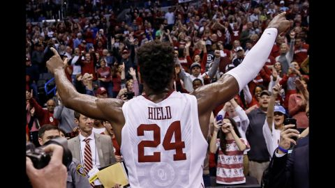Oklahoma star Buddy Hield celebrates with fans after the second-round victory over VCU on Sunday, March 20.