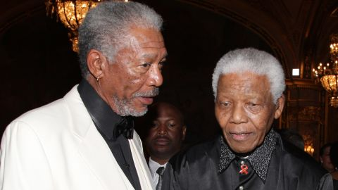 """Morgan Freeman, who played Nelson Mandela in the 2009 film """"Invictus,"""" is pictured with the South African president at a gala dinner in Monaco two years earlier."""